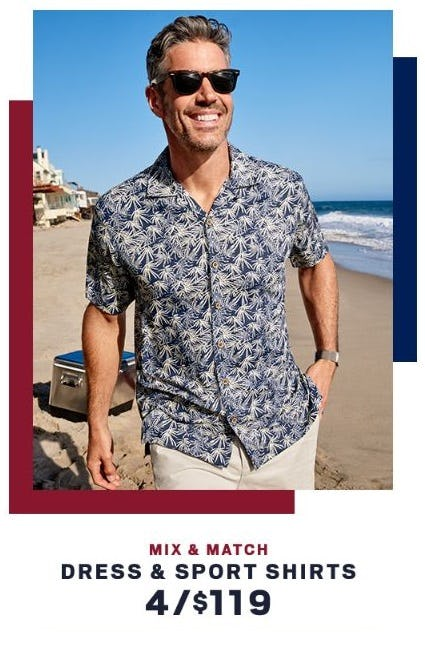 Dress & Sport Shirts 4/$119 from Men's Wearhouse