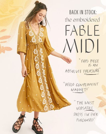 Back In Stock: The Embroidered Fable Midi from Free People