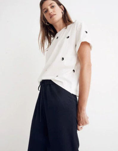 Embroidered Yin-Yang Easy Crop Tee from Madewell