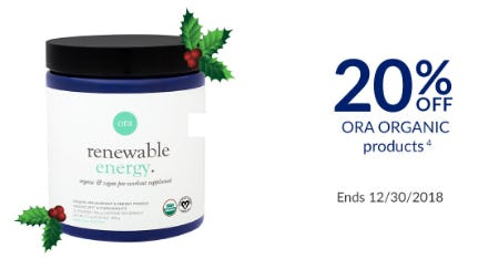 20% Off Ora Organic Products