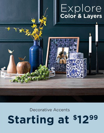 Decorative Accents Starting at $12.99 from Kirkland's
