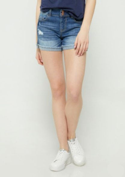 Medium Wash Mid Rise Cuffed Midi Shorts from rue21