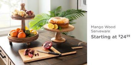 Mango Wood Serveware Starting at $24.99 from Kirkland's