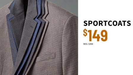 Sportcoats $149 from Jos. A. Bank