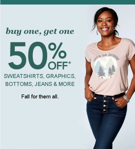 Buy One, Get One 50% Off Sweatshirts, Graphics, Bottoms, Jeans and More