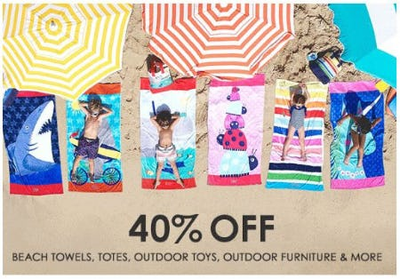 40% Off Beach Towels, Totes, Outdoor Toys, Outdoor Furniture & More