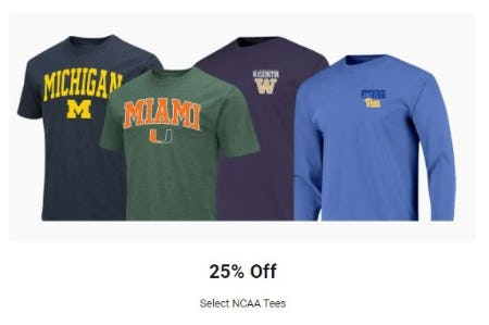 25% Off Select NCAA Tees from Dick's Sporting Goods