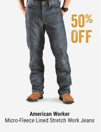 50% off American Worker Micro-Fleece Lined Stretch Work Jeans from Boot Barn Western And Work Wear