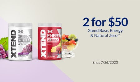 2 For $50 Xtend Base, Energy & Natural Zero from The Vitamin Shoppe