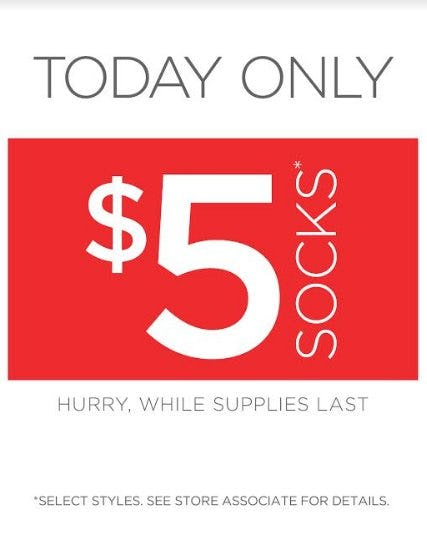 Today Only, $5 Socks from THE WALKING COMPANY