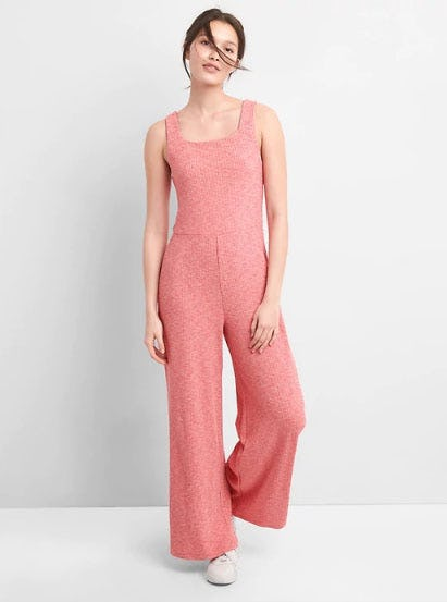 Ribbed Softspun Square-Neck Jumpsuit from Gap