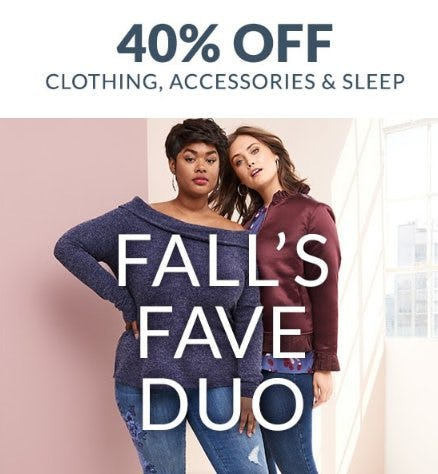 40% Off Clothing, Accessories & Sleep