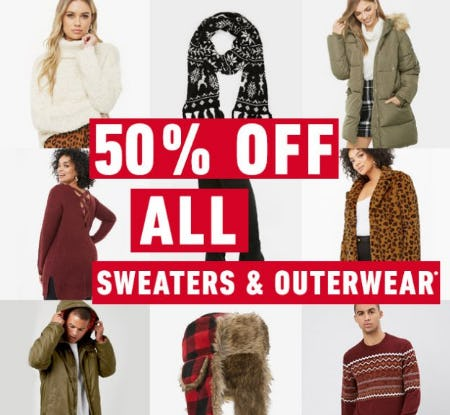 50% Off All Sweaters & Outerwear