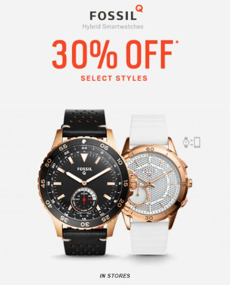 30% Off Select Fossil Q Smartwatches