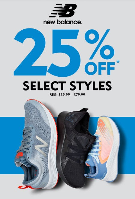25% Off on Select New Balance Styles from Shoe Carnival