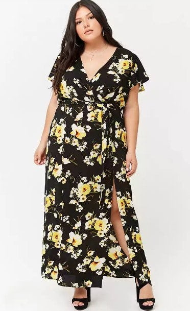 Plus Size Floral Surplice M-Slit Maxi Dress from Forever 21