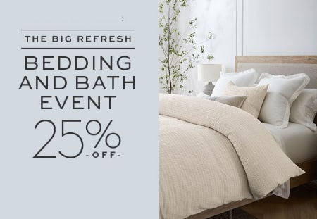 The Big Refresh: 25% Off Bedding & Bath Event from Pottery Barn