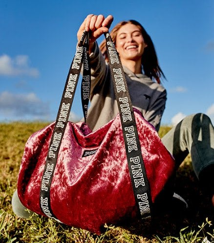 Free PINK Mini Velvet Duffle With $85 Purchase from VICTORIA'S SECRET Beauty