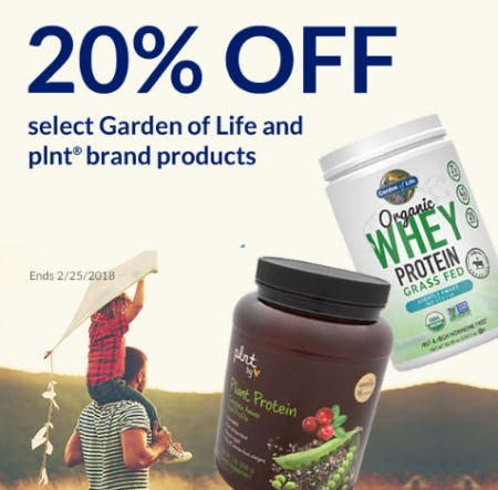 20% Off Plnt & Garden of Life Brands from The Vitamin Shoppe