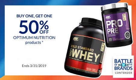 BOGO 50% Off Optimum Nutrition Products from The Vitamin Shoppe