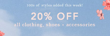 20% Off All Clothing, Shoes & Accessories from Anthropologie