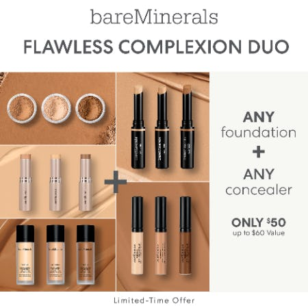 Your Choice of ANY Foundation + Concealer for $50 from bareMinerals