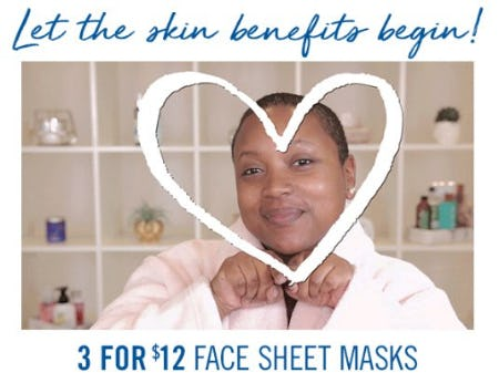 3 for $12 Face Sheet Masks from Bath & Body Works