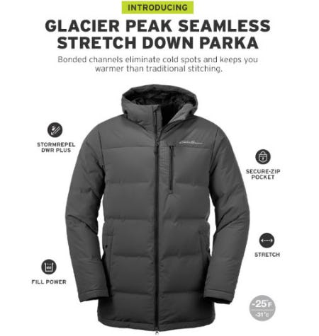 Introducing Glacier Peak Seamless Stretch Down Parka from Eddie Bauer