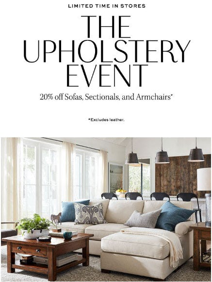 20% Off The Upholstery Event from Pottery Barn