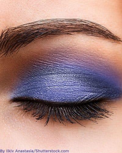 Purple eye makeup.