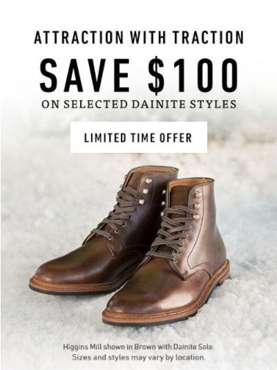 $100 Off Selected Dainite Styles from Allen Edmonds