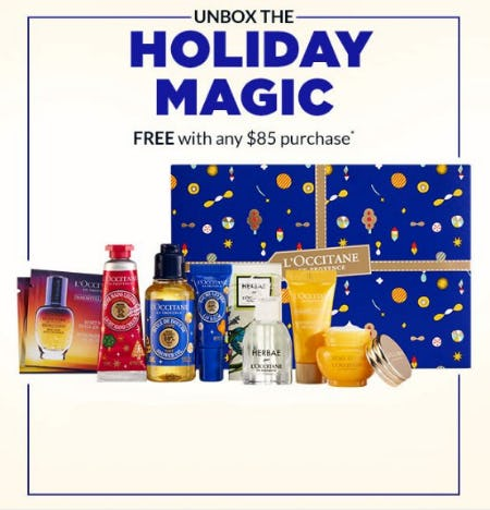 Unbox the Holiday Magic Free with Any $85 Purchase from L'Occitane