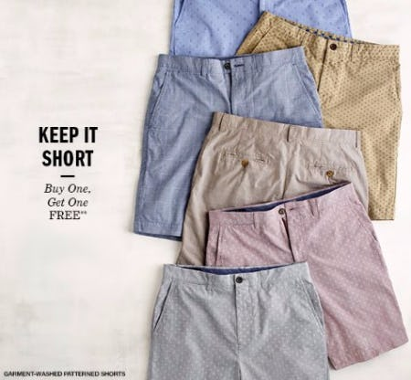 Garment-Washed Patterned Shorts BOGO Free