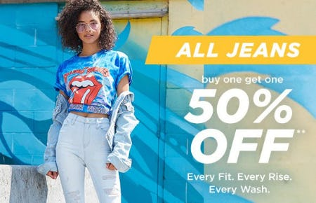 All Jeans Buy One, Get One 50% Off from rue21