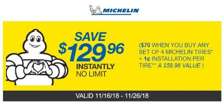 $129.96 Off Instantly on Michelin Tires from Costco
