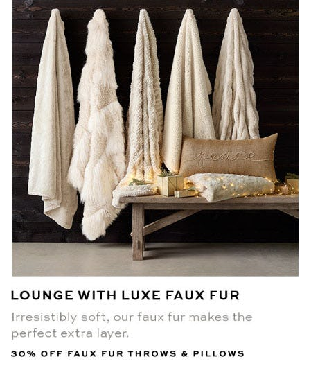 30% Off Faux Fur Throws & Pillows from Pottery Barn