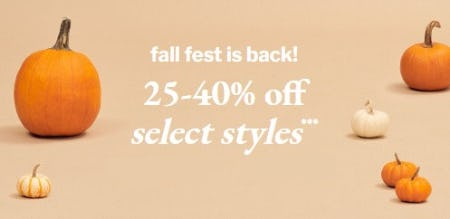 25-40% Off Select Styles