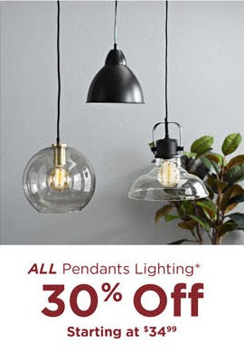 30% Off All Pendants Lighting