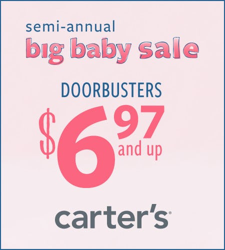 Semi-Annual Big Baby Sale Doorbusters $6.97 & Up from Carter's