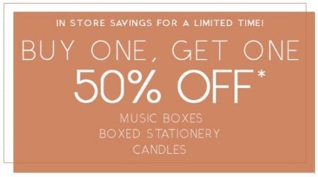 BOGO 50% Off Music Boxes, Boxed Stationery & Candles from PAPYRUS