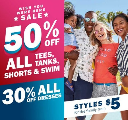 Wish You Were Here Sale from Old Navy
