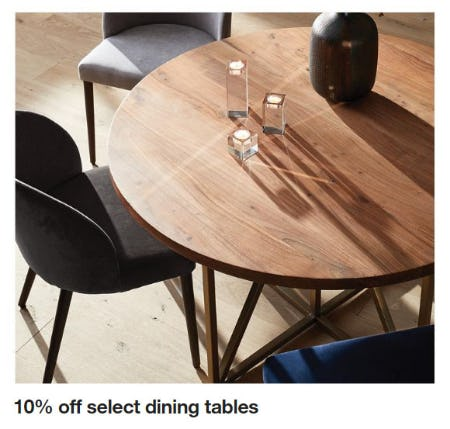 10% Off Select Dining Tables from Crate & Barrel