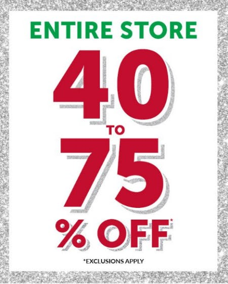 Entire Store 40 to 75% Off from The Children's Place