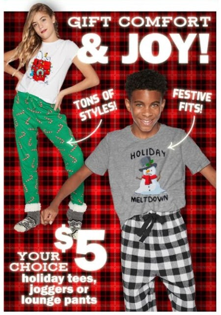 $5 Holiday Tees, Joggers or Lounge Pants from Five Below