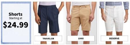 Shorts Starting at $24.99 from Jos. A. Bank