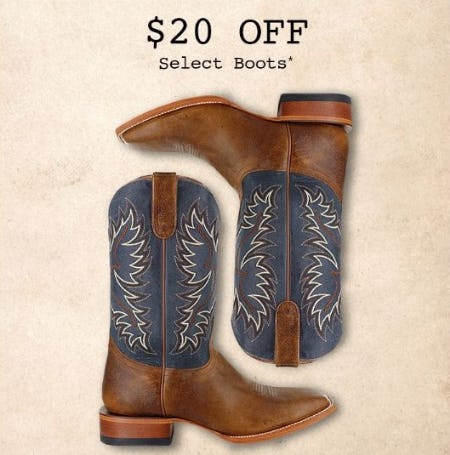 $20 Off Select Boots from Boot Barn