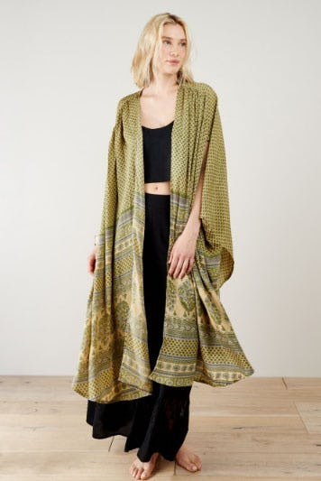 Nima Green Paisley Border Kimono from Earthbound Trading Company