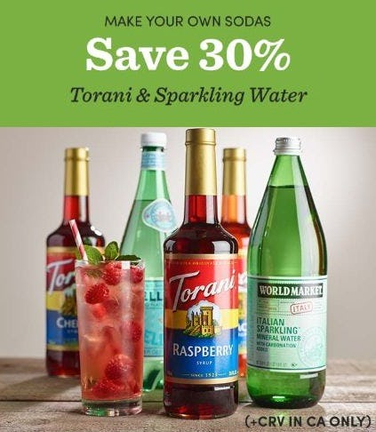 30% Off Torani & Sparkling Water from Cost Plus World Market