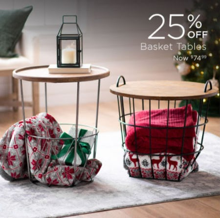 25% Off Basket Tables from Kirkland's