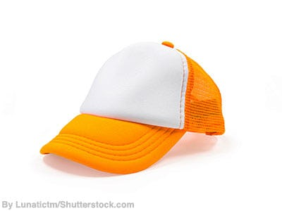 Retro orange and white foam trucker hat.